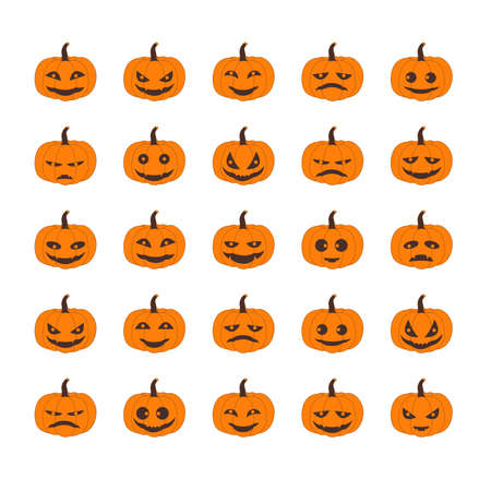 Pumpkins Head Halloween Many emotions Set of silhouette spooky horror images of pumpkins. Scary Jack-o-lantern facial expressions Illustration. Illustration