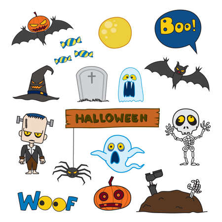 Set of characters and icons for Halloween in cartoon style ,pumpkin, ghost, candy, Frankenstein, skeleton and other traditional elements of Halloween.