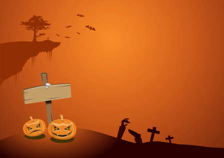 Halloween Background. Illustration. Flat Halloween Icons with Square Frame. Trick or Treat Concept. Ghost and Frankenstein, Orange Pumpkin and Spider Web, Skull and Crossbones.
