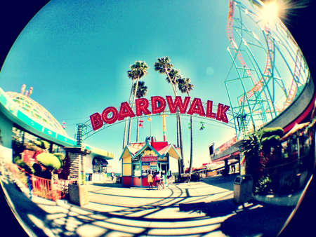 Santa Cruz Boardwalk entrance with fisheye lens
