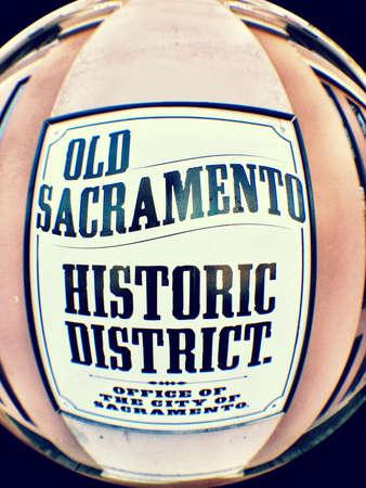 closeup: Old Sacramento historic district sign  Stock Photo