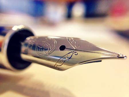 Closeup of a fountain pen nib