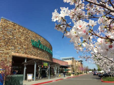 Out of focused entrance to Whole Foods Market in spring of 2015. Stock fotó