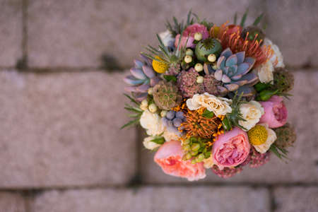 tile: Broch bouquet on tile Stock Photo