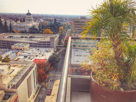 downtown capitol: Aerial view of Sacramento streets and State Capitol Building