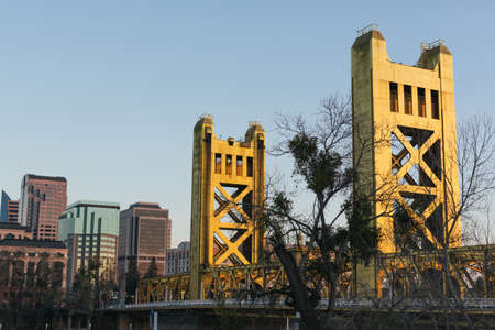 Sacramento Tower Bridge during sunset