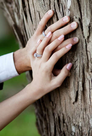 Young couple just married hands closeup