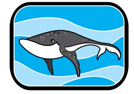 ballena azul: Ilustraci�n de una caricatura animada ballena azul en azul marino