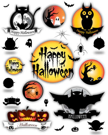 Illustration of cartoon animated Halloween different elements  Vector