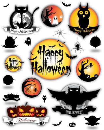 moon  owl  silhouette: Illustration of cartoon animated Halloween different elements