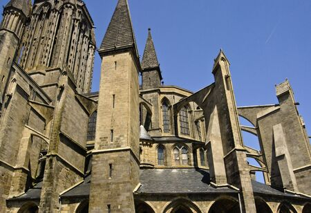 buttresses: Flying Buttresses on the apse of Coutances CAthedral, France. MAy, 2007