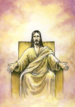alabando a dios: Dios o Jesús sentado en el trono con los brazos abiertos