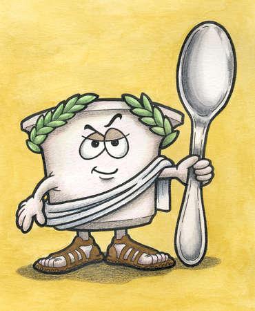 Greek Yogurt Cartoon Character holding Spoon