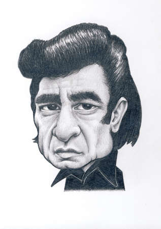Johnny Cash Graphite Caricature Drawing with White Background