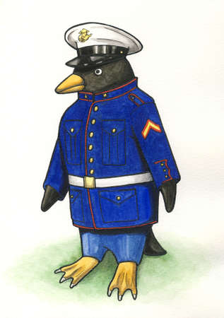 webbed: Penguin in Marine Dress Blues Painting with White Background
