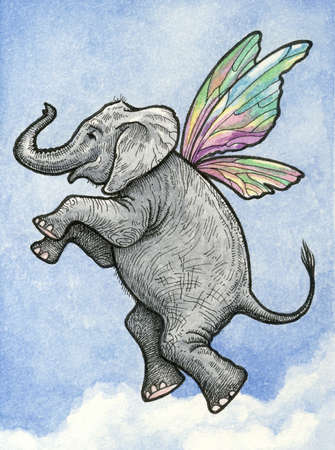 clouded sky: Elephant with fairy wings flying in a clouded blue sky Stock Photo