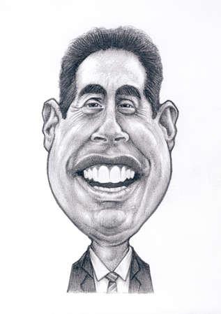 흰색 배경과 제리 Seinfeld는 흑연 캐리커처 그리기 에디토리얼