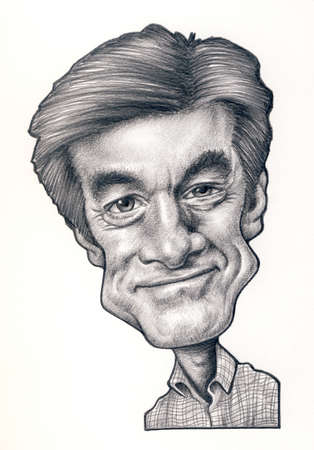 oz: Dr. Oz graphite caricature drawing on a white background