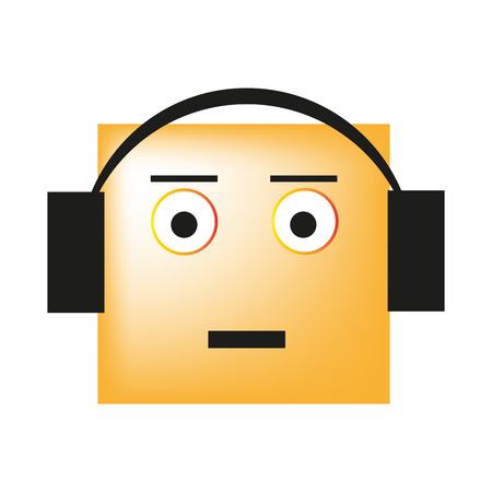 smiley listening to music on headphones and just enjoy the song vector illustration Illusztráció