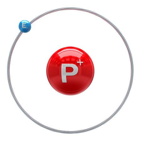 白い背景の上の水素原子