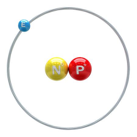 isotope: Deuterium atom on white background