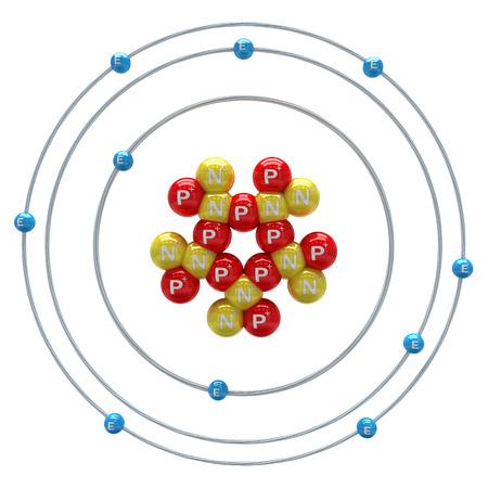 Neon atom on a white background