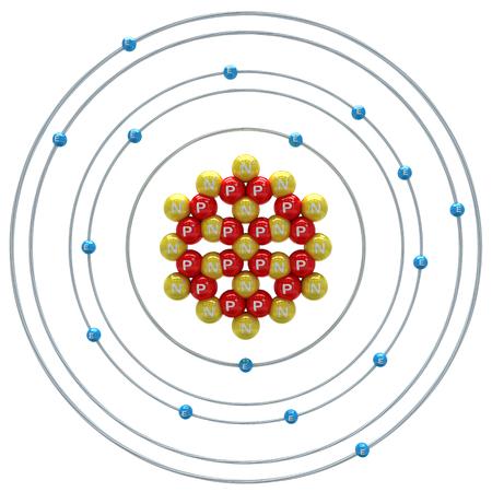 Sulfur atom on a white background Stock Photo - 24660018
