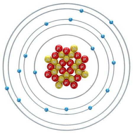 Sulfur atom on a white background Stock Photo - 24660019