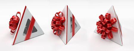 pyramidal: Three pyramidal white gift box with red ribbon