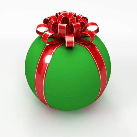 spherical: Green spherical gift box with red ribbon
