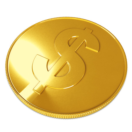 Golden coin isolated on white background  photo