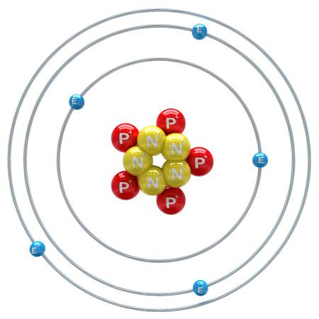 boron: Boron atom on white background