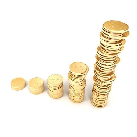 3d golden coins on a white background photo