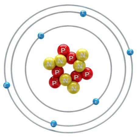 Carbon atom on white background