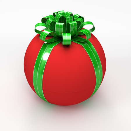 spherical: Red spherical gift box with green ribbon