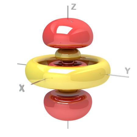 Form der 5D M-0-Atomorbital auf weißem Hintergrund. Erhältlich anderen Orbitale Standard-Bild - 28901894