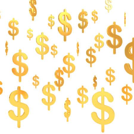 Suspended in air Dollar golden symbols (3d render)