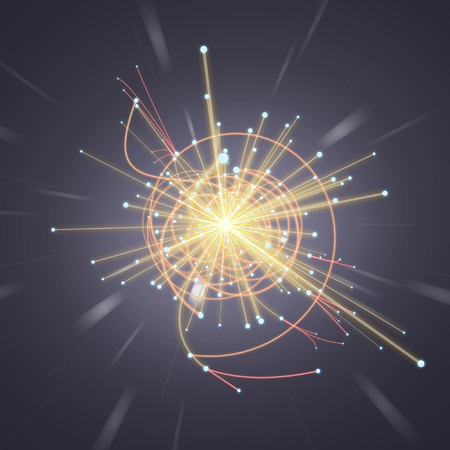 positron: Particle Collision in LHC (Large Hadron Collider) Stock Photo