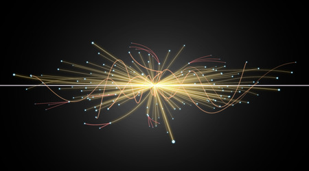 nuclear fusion: Particle Collision in LHC (Large Hadron Collider) Stock Photo