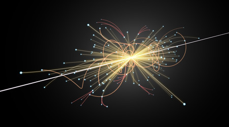 particle: Particle Collision in LHC (Large Hadron Collider) Stock Photo