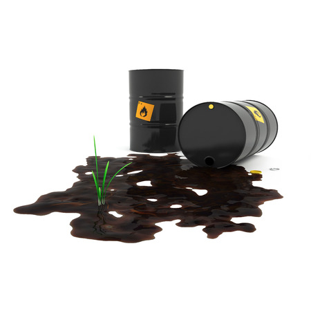 toxic substances: Overturned barrel of oil on the grass