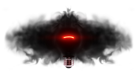 emit: Light bulb emits darkness Stock Photo