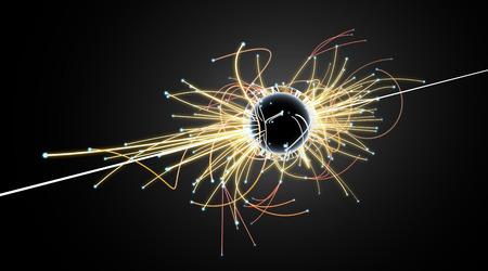 LHC (Large Hadron Collider)의 입자 충돌 및 블랙홀 스톡 콘텐츠