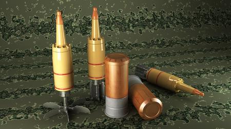 artillery shell: Tanque Municiones acumulado en un fondo del camuflaje