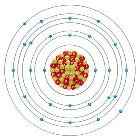 ferrum: Ferrum atom on a white background