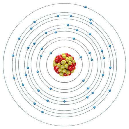 rhodium: Rhodium atom on a white background