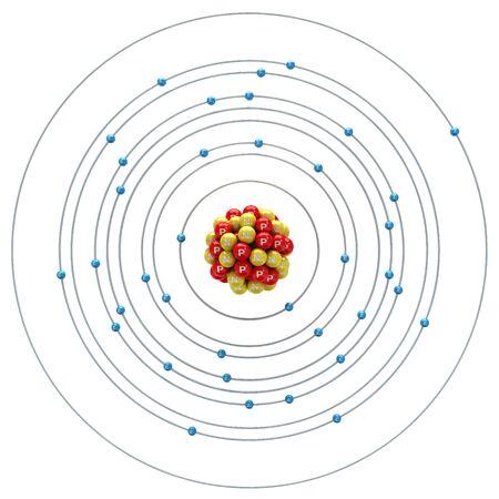 neutron: Rubidium atom on a white background