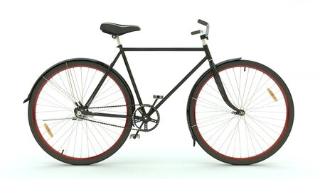 velocipede: Black Bicycle on white background (3d render)