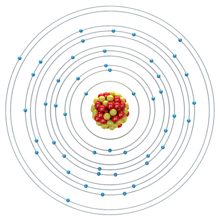 indium: Indium atom on a white background