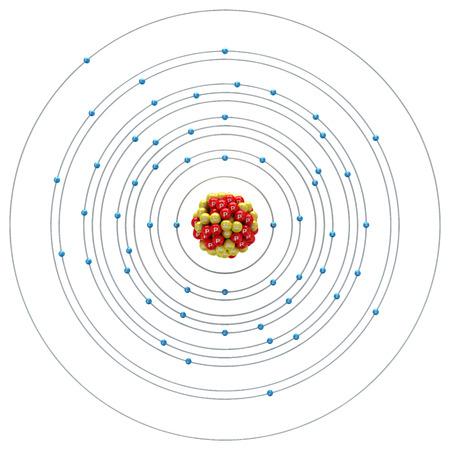 cesium: Caesium atom on a white background